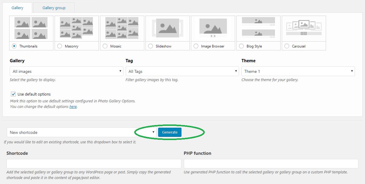 Configurar el código abreviado de la galería de fotos