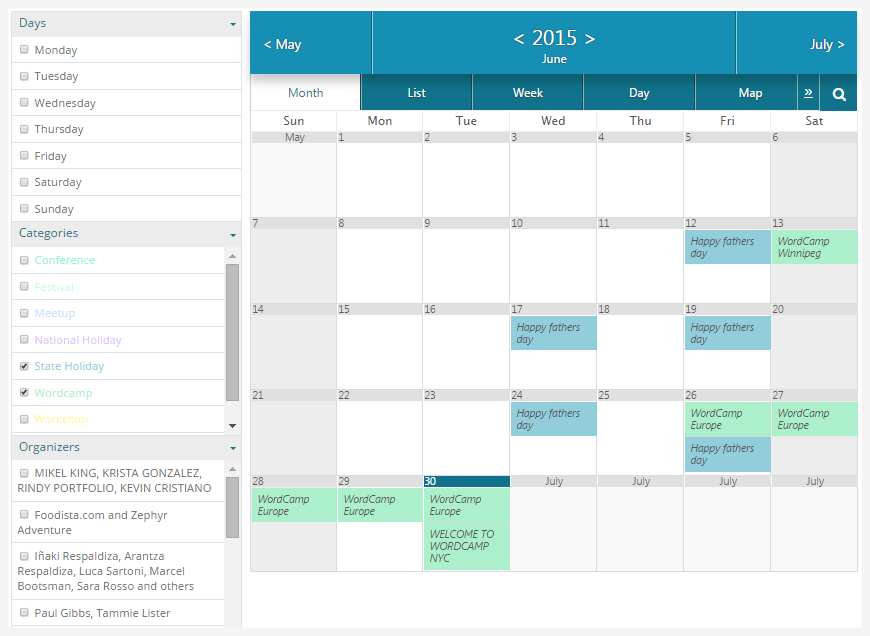 WordPress Calendario de eventos Add-on | Filtrar