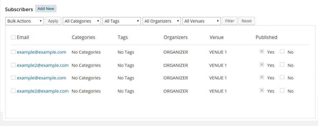 WordPress Calendario de eventos Add-on   Suscribir
