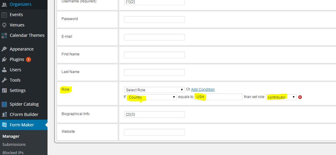 WordPress generador de formularios Add-on | registro de usuario